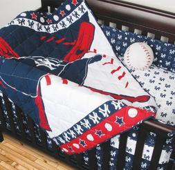 MLB New York Yankees Crib Bedding - 4pc Baseball Baby Quilt
