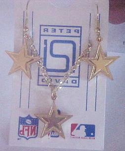 Dallas Cowboys GOLD J Hook Star Logo Earrings and Pendant Se