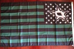 Dallas Stars 3x5 American Flag. US seller. Free shipping wit