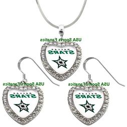 Dallas Stars 925 Necklace / Earrings or Set Team Heart With