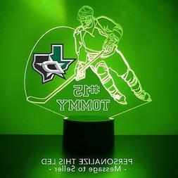 Dallas Stars Night Light, Personalized FREE, NHL Hockey LED