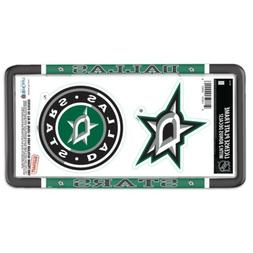 DALLAS STARS THIN RIM LICENSE PLATE FRAME WITH 2 DECALS NEW