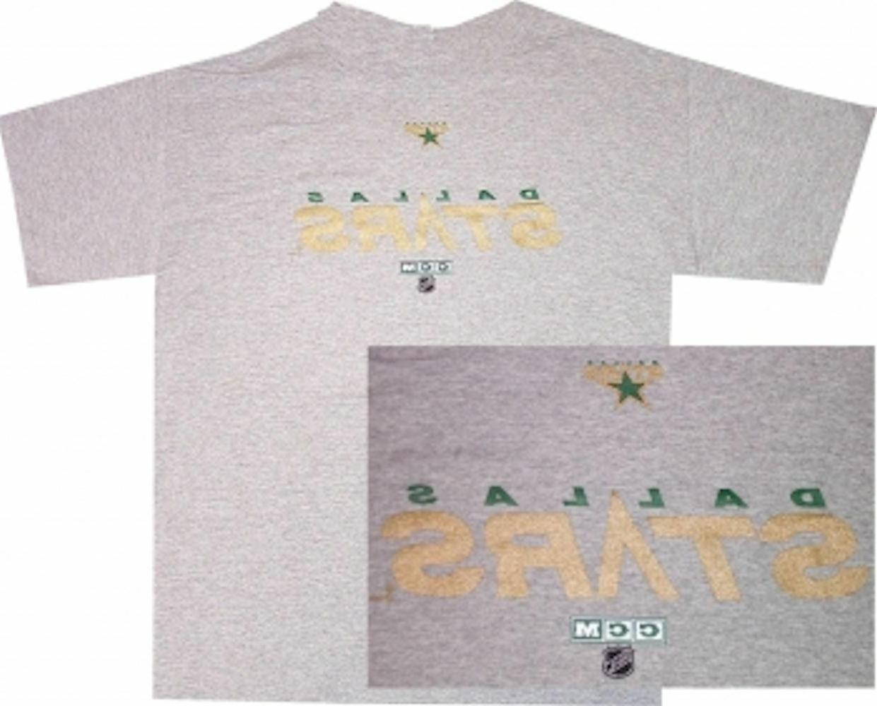 dallas stars grey throwback wordmark logo shirt