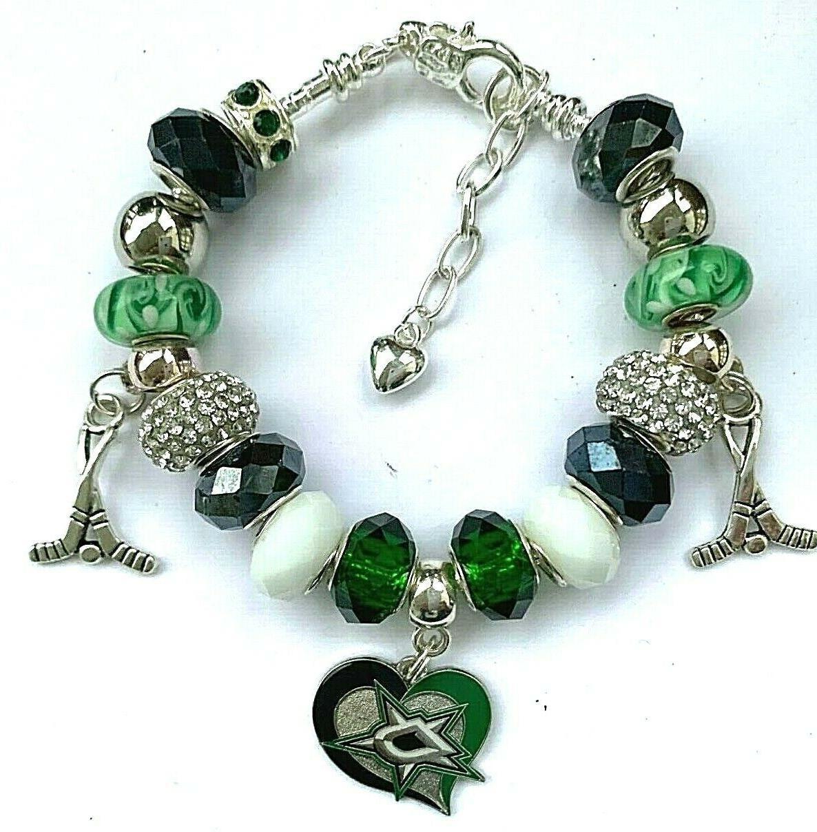 nhl dallas stars crystal team european bracelet