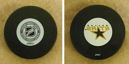 LOT OF 2 HOCKEY PUCKS - NHL OFFICIAL   IN GLAS CO - DALLAS S