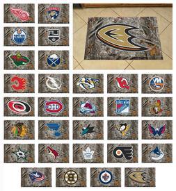 "NHL - Camo Style Scraper Mat Hockey Team Logo 19"" x 30"""