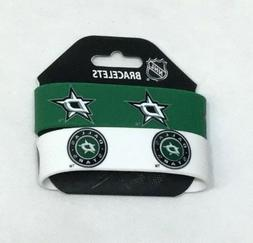 NHL Dallas Stars 2 Pack Bracelet Wrist Bands Set Rubber PVC