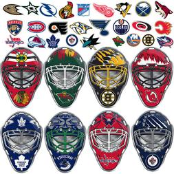 NHL Teams Goalie Mask Premium Aluminum Emblem Sticker Hockey
