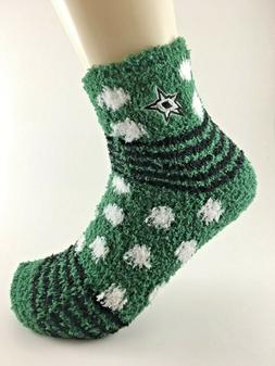 Official NHL Hockey Dallas Stars Striped Fuzzy Sleep Socks M